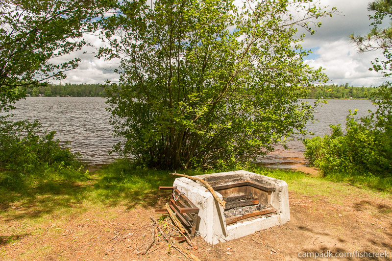 Campsite Photo of Site 209 at Fish Creek Pond Campground, New York - Fireplace View