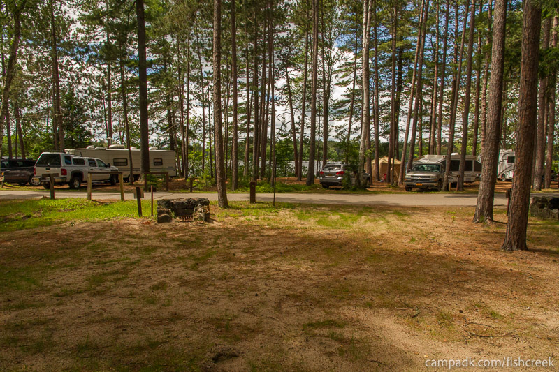 Campsite Photo of Site B3 at Fish Creek Pond Campground, New York - Looking Back Towards Road