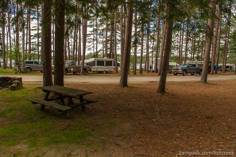 Campsite Photo of Site B4 at Fish Creek Pond Campground, New York - Looking Back Towards Road