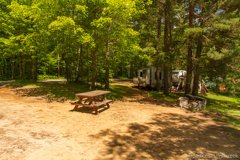 Campsite Photo of Site 39 at Fish Creek Pond Campground, New York - Cross Site View