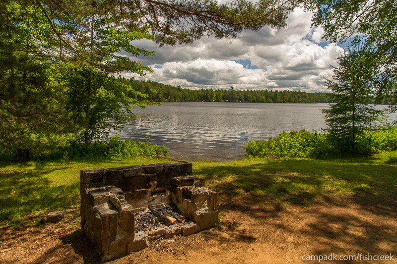 Campsite Photo of Site 39 at Fish Creek Pond Campground, New York - Fireplace View