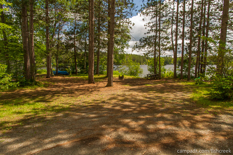 Campsite Photo of Site 43 at Fish Creek Pond Campground, New York - Looking at Site from Road