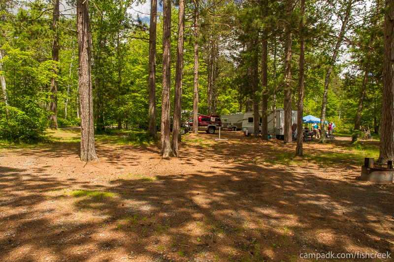 Campsite Photo of Site 43 at Fish Creek Pond Campground, New York - Cross Site View