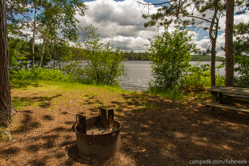 Campsite Photo of Site 43 at Fish Creek Pond Campground, New York - Fireplace View