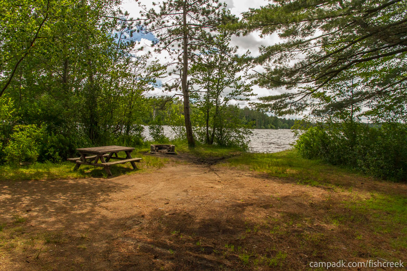 Campsite Photo of Site 68 at Fish Creek Pond Campground, New York - Looking at Site from Part Way In
