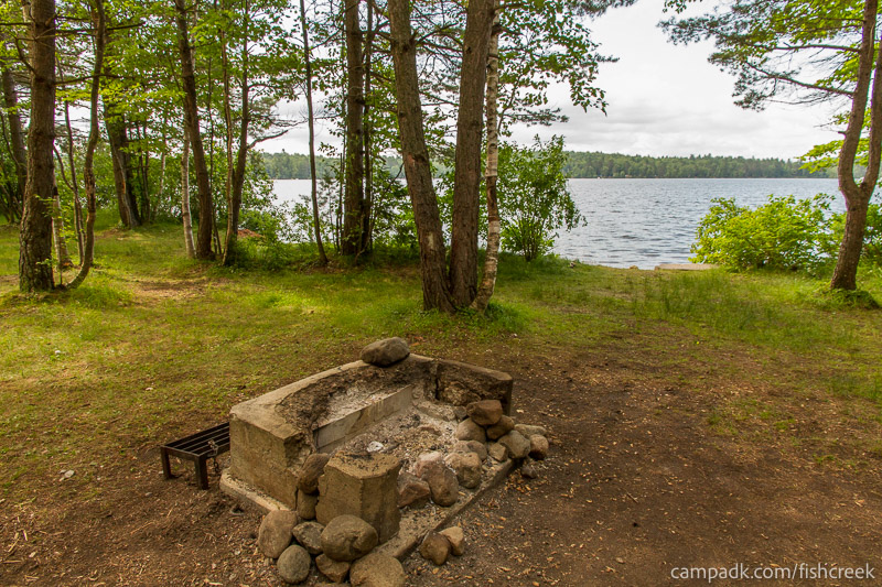 Campsite Photo of Site 98 at Fish Creek Pond Campground, New York - Fireplace View