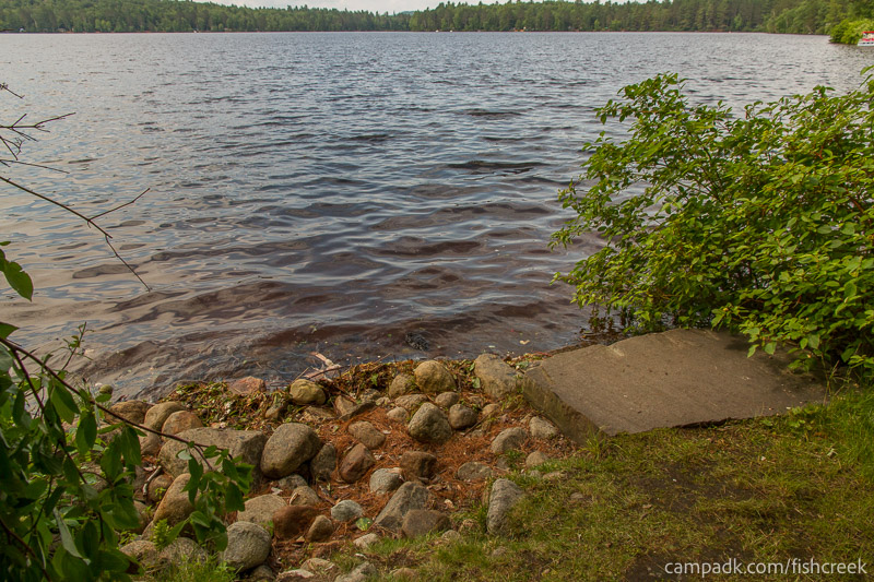 Campsite Photo of Site 98 at Fish Creek Pond Campground, New York - Shoreline