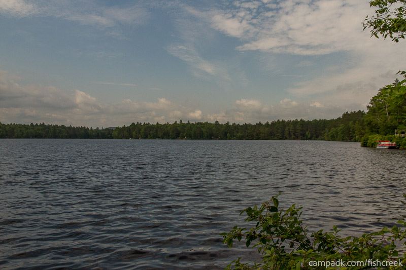 Campsite Photo of Site 98 at Fish Creek Pond Campground, New York - View from Shoreline