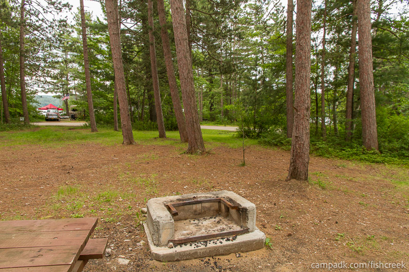 Campsite Photo of Site A14 at Fish Creek Pond Campground, New York - Fireplace View