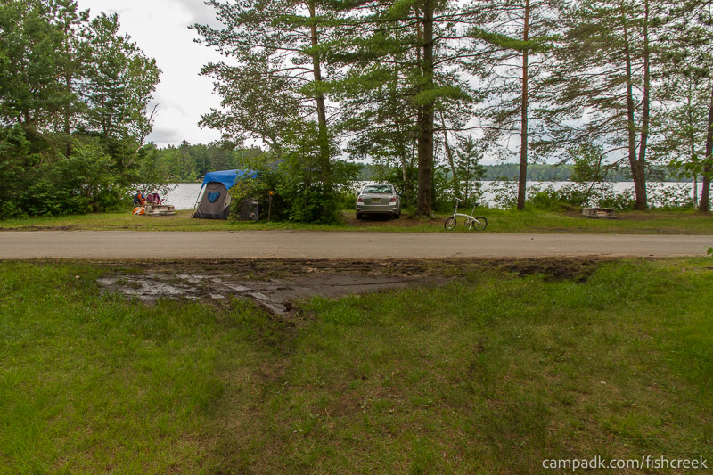 Campsite Photo of Site A14 at Fish Creek Pond Campground, New York - Looking Back Towards Road