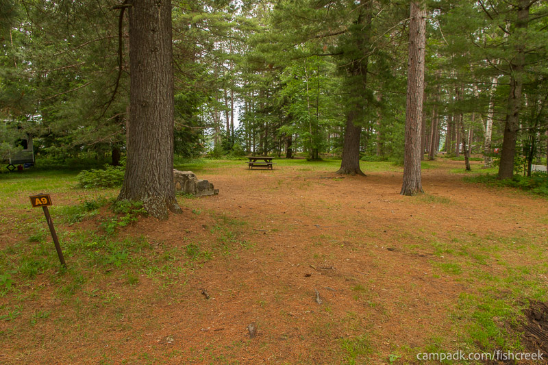 Campsite Photo of Site A9 at Fish Creek Pond Campground, New York - Looking at Site from Road Sign Visible