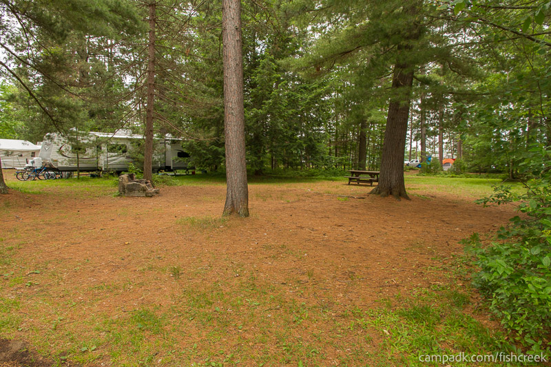 Campsite Photo of Site A9 at Fish Creek Pond Campground, New York - Looking at Site from Road