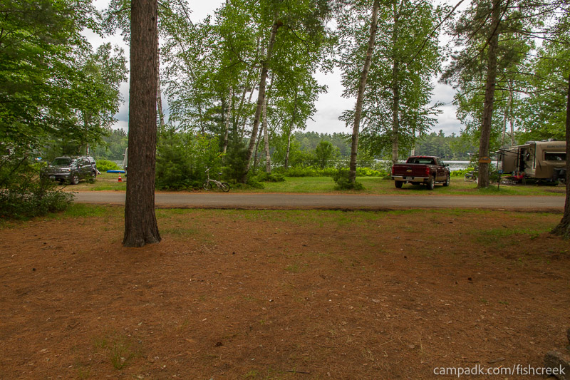Campsite Photo of Site A9 at Fish Creek Pond Campground, New York - Looking Back Towards Road