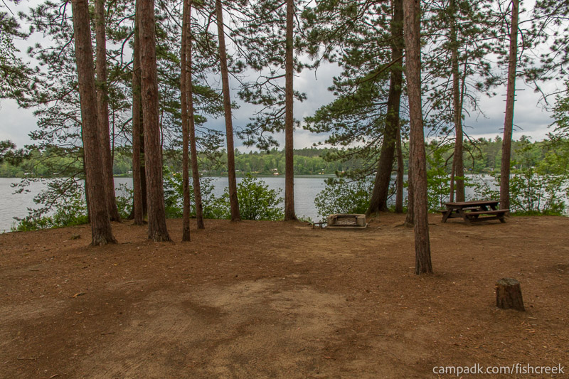 Campsite Photo of Site 19 at Fish Creek Pond Campground, New York - Looking at Site from Part Way In