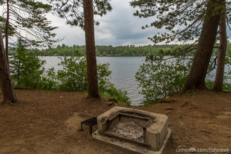 Campsite Photo of Site 19 at Fish Creek Pond Campground, New York - Fireplace View