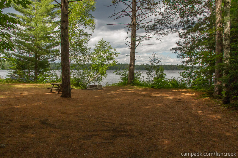 Campsite Photo of Site 147 at Fish Creek Pond Campground, New York - Looking at Site from Part Way In