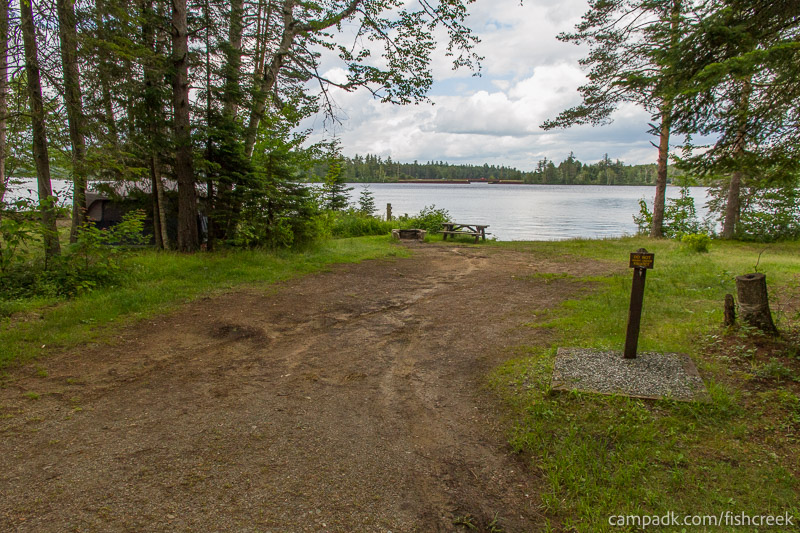 Campsite Photo of Site 282 at Fish Creek Pond Campground, New York - Looking at Site from Road