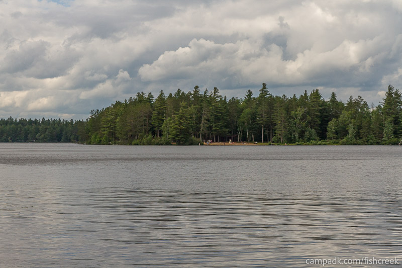 Campsite Photo of Site 282 at Fish Creek Pond Campground, New York - View from Shoreline