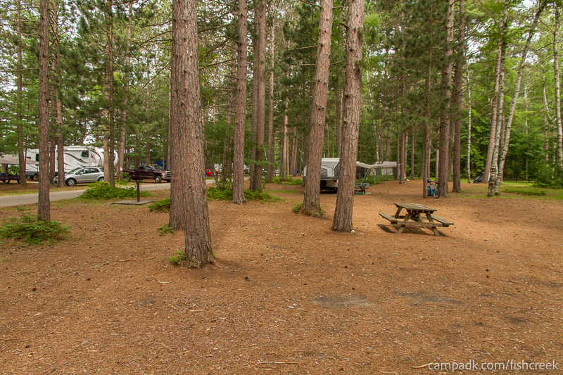 Campsite Photo of Site A20 at Fish Creek Pond Campground, New York - Cross Site View
