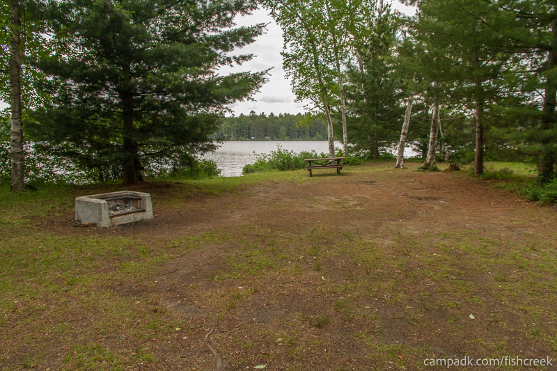 Campsite Photo of Site 63 at Fish Creek Pond Campground, New York - Looking at Site from Part Way In