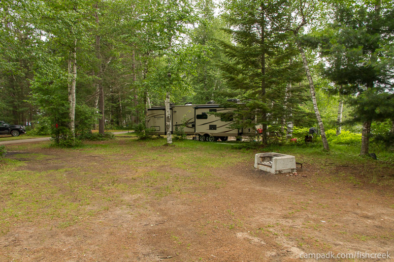 Campsite Photo of Site 63 at Fish Creek Pond Campground, New York - Cross Site View