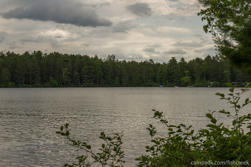 Campsite Photo of Site 63 at Fish Creek Pond Campground, New York - View from Shoreline