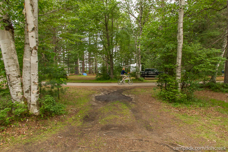 Campsite Photo of Site 63 at Fish Creek Pond Campground, New York - Looking Back Towards Road