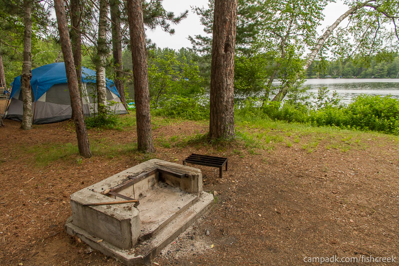 Campsite Photo of Site 59 at Fish Creek Pond Campground, New York - Fireplace View