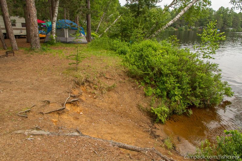 Campsite Photo of Site 59 at Fish Creek Pond Campground, New York - Shoreline