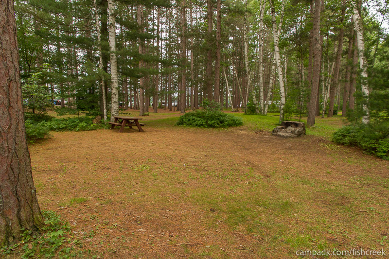 Campsite Photo of Site A7 at Fish Creek Pond Campground, New York - Looking at Site from Road