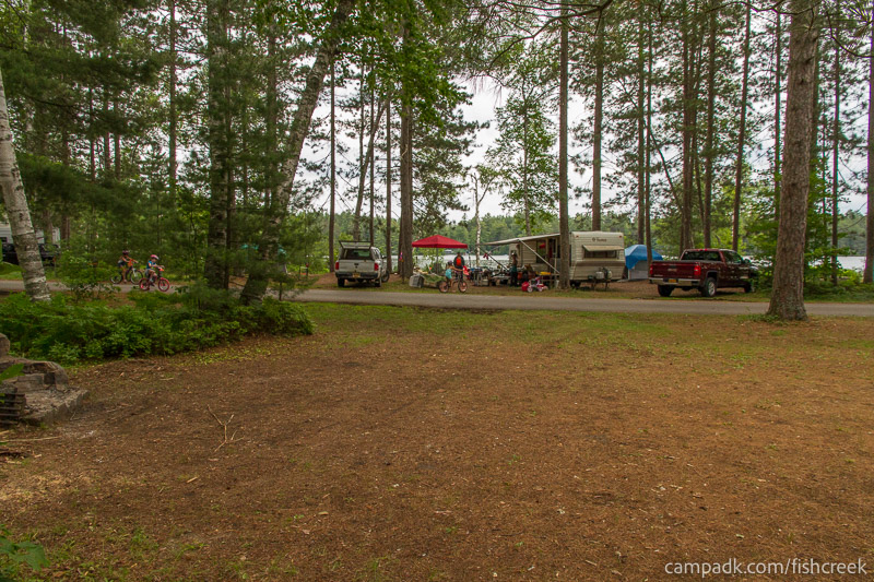Campsite Photo of Site A7 at Fish Creek Pond Campground, New York - Looking Back Towards Road