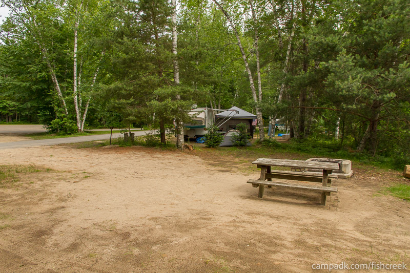 Campsite Photo of Site 52 at Fish Creek Pond Campground, New York - Cross Site View