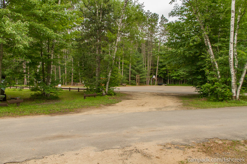 Campsite Photo of Site 52 at Fish Creek Pond Campground, New York - Looking Back Towards Road