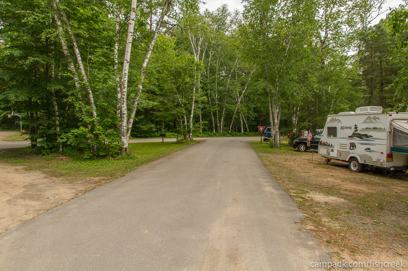 Campsite Photo of Site 52 at Fish Creek Pond Campground, New York - View Down Road from Campsite