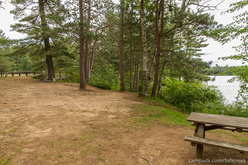 Campsite Photo of Site 35 at Fish Creek Pond Campground, New York - Cross Site View