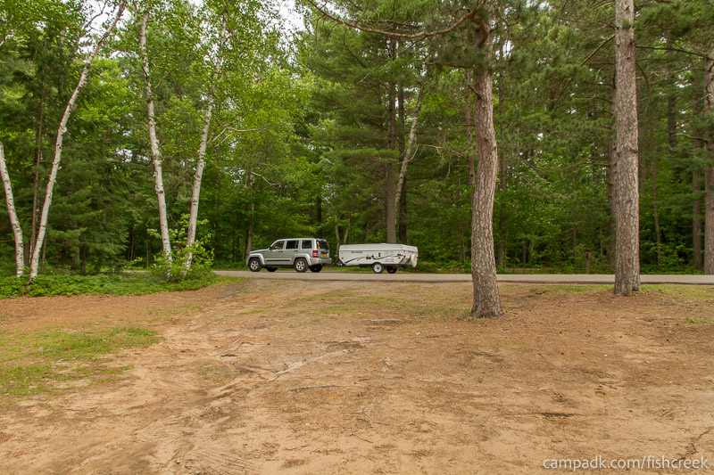 Campsite Photo of Site 35 at Fish Creek Pond Campground, New York - Looking Back Towards Road