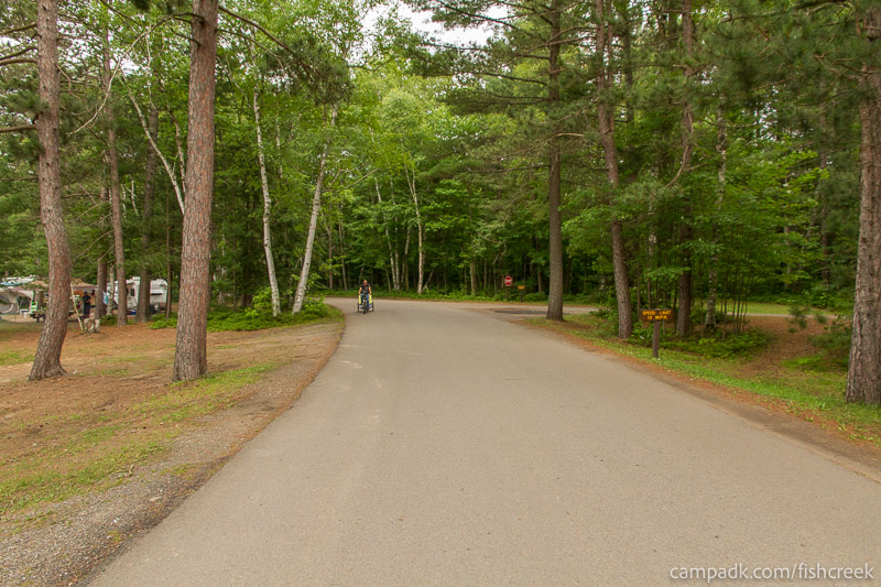 Campsite Photo of Site 35 at Fish Creek Pond Campground, New York - View Down Road from Campsite