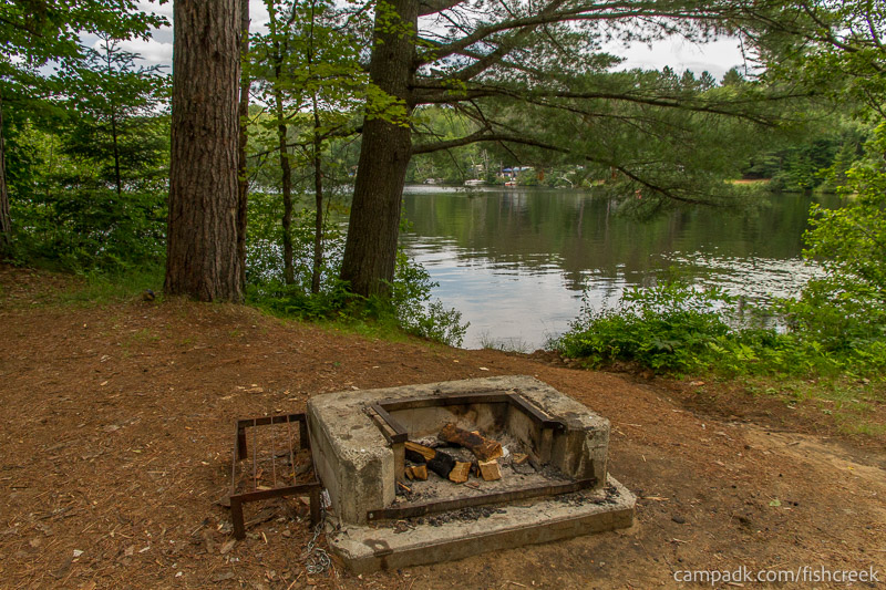 Campsite Photo of Site 159 at Fish Creek Pond Campground, New York - Fireplace View