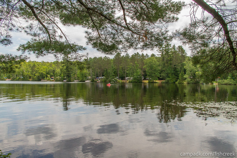 Campsite Photo of Site 159 at Fish Creek Pond Campground, New York - View from Shoreline