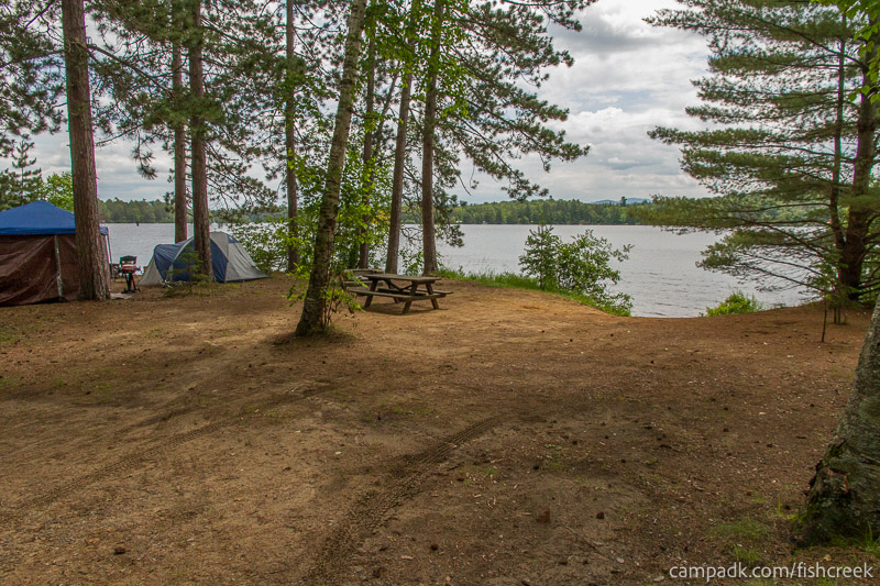 Campsite Photo of Site 118 at Fish Creek Pond Campground, New York - Looking at Site from Road