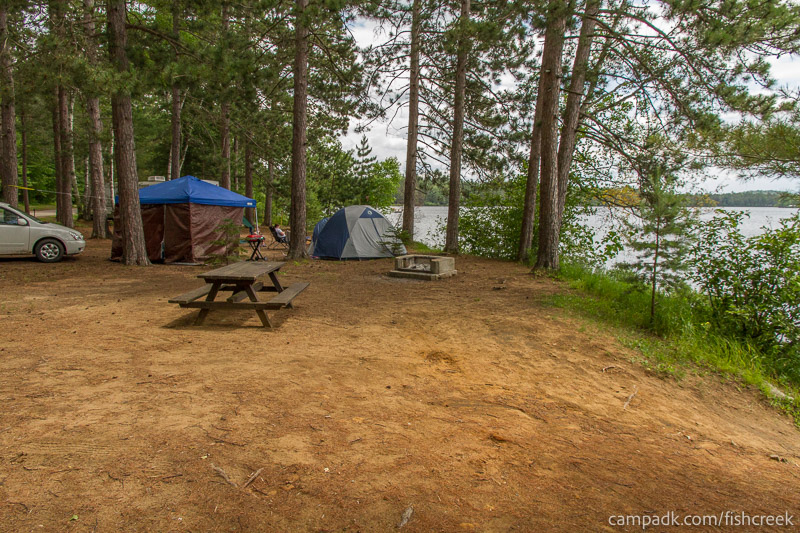 Campsite Photo of Site 118 at Fish Creek Pond Campground, New York - Cross Site View