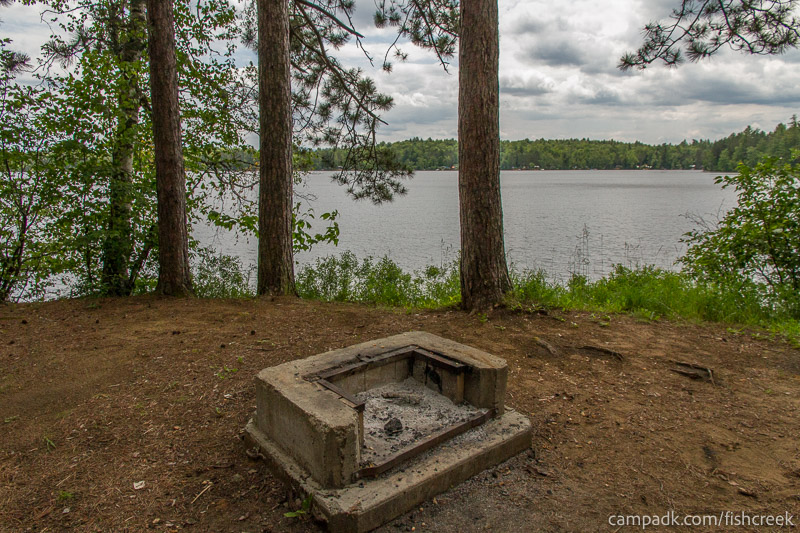 Campsite Photo of Site 118 at Fish Creek Pond Campground, New York - Fireplace View