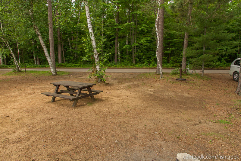 Campsite Photo of Site 118 at Fish Creek Pond Campground, New York - Looking Back Towards Road