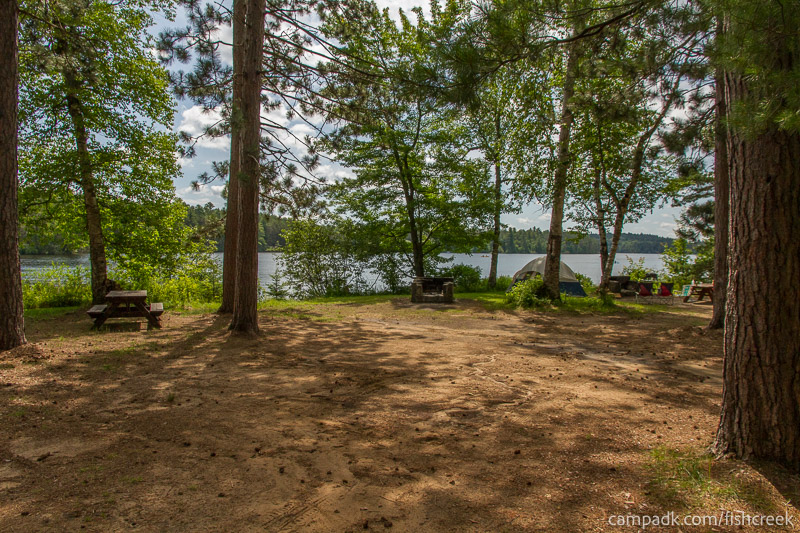 Campsite Photo of Site 41 at Fish Creek Pond Campground, New York - Looking at Site from Part Way In