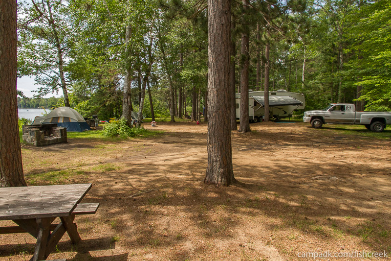 Campsite Photo of Site 41 at Fish Creek Pond Campground, New York - Cross Site View