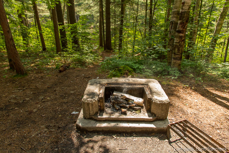 Campsite Photo of Site C12 at Fish Creek Pond Campground, New York - Fireplace View