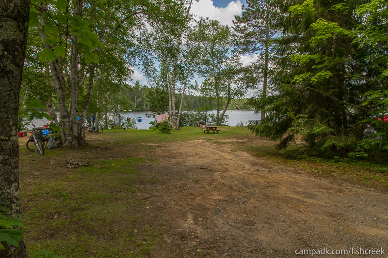 Campsite Photo of Site 185 at Fish Creek Pond Campground, New York - Looking at Site from Road