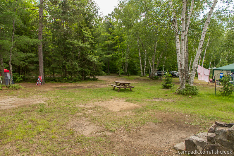Campsite Photo of Site 185 at Fish Creek Pond Campground, New York - Looking Back Towards Road