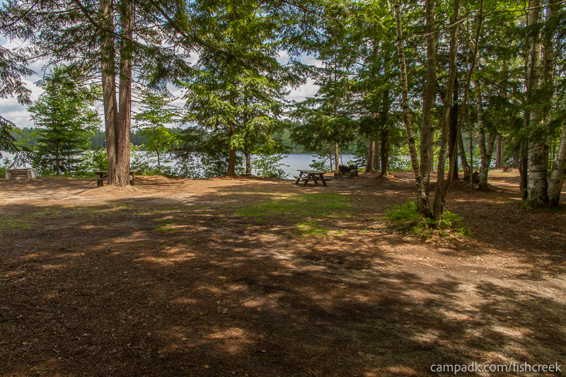 Campsite Photo of Site 243 at Fish Creek Pond Campground, New York - Looking at Site from Road