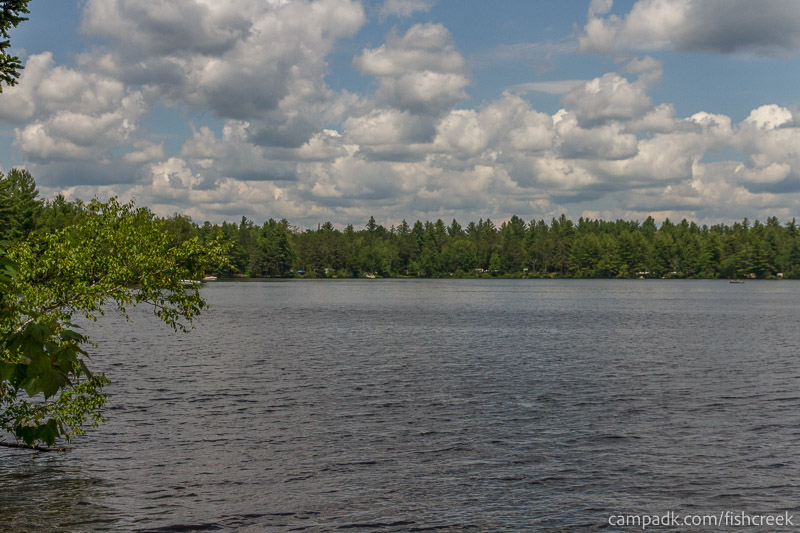 Campsite Photo of Site 243 at Fish Creek Pond Campground, New York - View from Shoreline